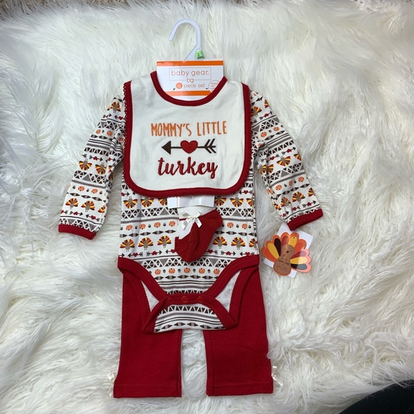 78b95240b Baby Gear Matching Sets | Baby Girl Thanksgiving Turkey Outfit Set ...
